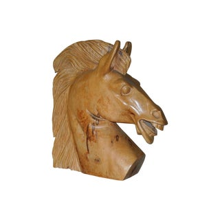 Hand Carved Wooden Horse Head