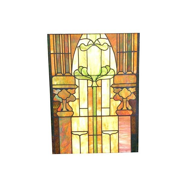 Antique Architectural Stained Leaded Glass Window - Image 3 of 5
