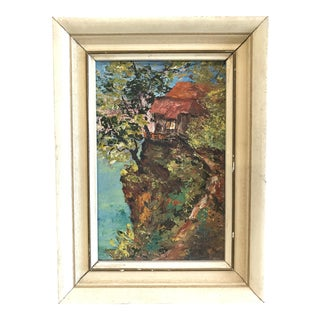 Vintage Miniature Oil 'House on a Cliff'