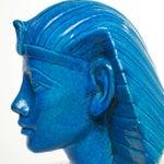 Image of Persian Blue Glaze King Tutankhamun Ceramic Bust by Ugo Zaccagnini