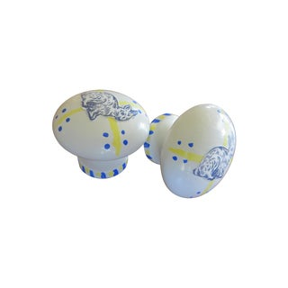 Hand Painted/Decoupage Wood Knobs - A Pair