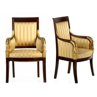 Antique Empire Bergere Armchairs - A Pair