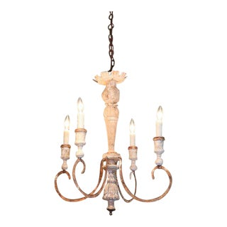 French Iron and Wood Chandelier