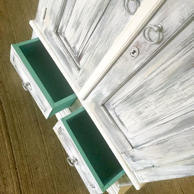 Vintage Distressed White Wine Cabinet - Image 4 of 8