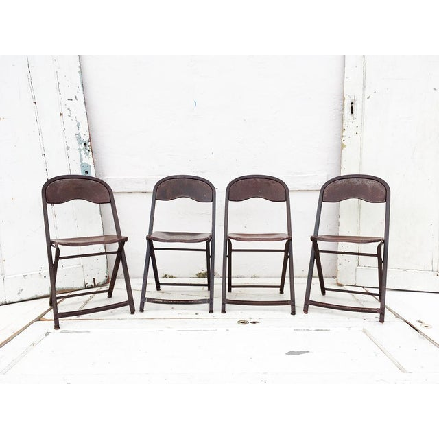 1950's Metal Folding Chairs - Set of 4 - Image 3 of 5