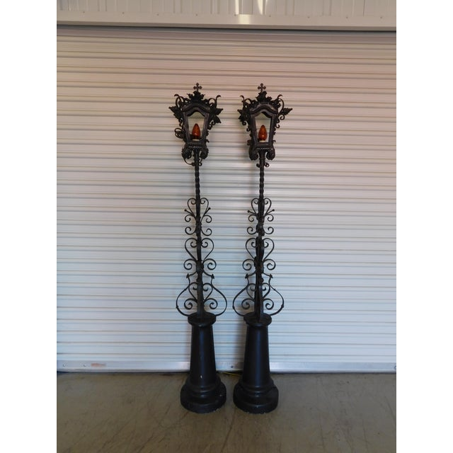Converted Street Post Lamps - A Pair - Image 3 of 11