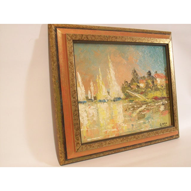 Vintage French Nautical Oil Painting - Image 5 of 7