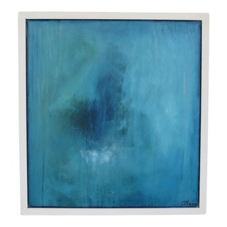 Absolute. Blue/Green. Original Oil on Framed Panel by C. Damien Fox 2017