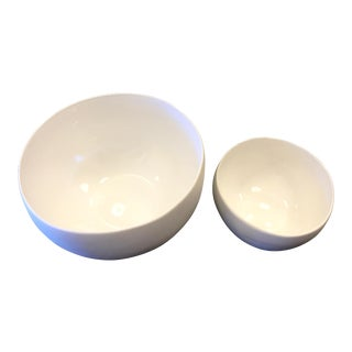 White Earthenware Bowls - A Pair