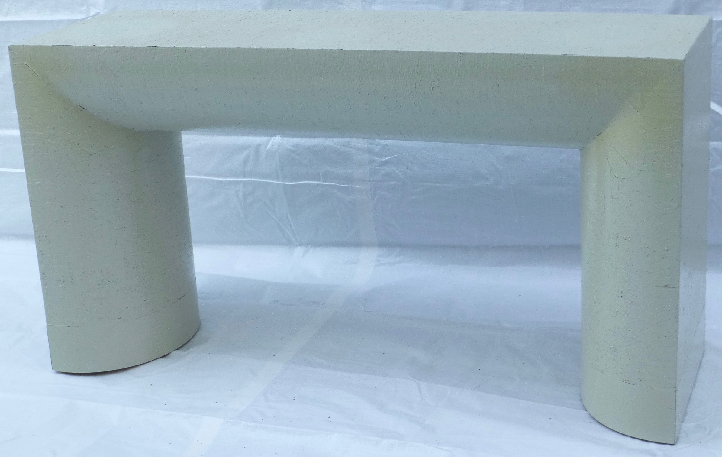 Exceptional Karl Springer Style Grasscloth Console Table   Image 2 Of 9