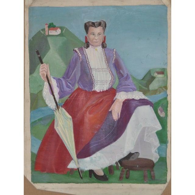 Image of Nancy Larsen Vintage Oil Painting, C.1940's