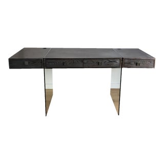 Unique Glass and Black Oak Desk