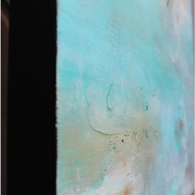 Original Abstract Modern Art Painting Atlantis Turquoise Textured Wood Artwork - Image 4 of 4