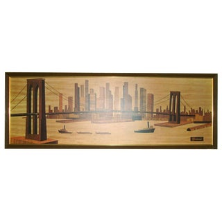 Mid-Century Seivad Brooklyn Bridge Wood Print New York City
