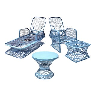 Russell Woodard Blue Spun Fiberglass Outdoor Chaise Loungers & Table Set - 3 Pieces