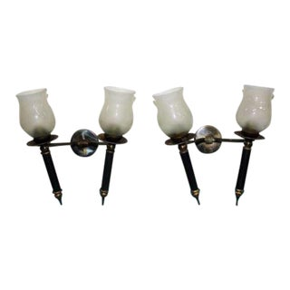 Fine Pair of guariche lunel French Wall Sconces 1950's.