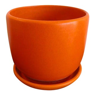 Mid-Century Modern Pottery Gainey Planter & Saucer in Rare Speckled Orange