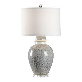 Chelsea House Marbled Grey & Gold Ginger Jar Lamp
