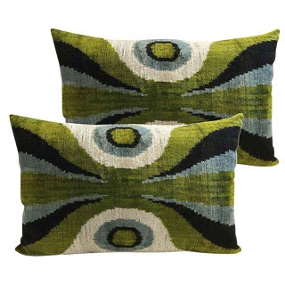 Custom Silk Velvet Down Feather Accent Pillows - A Pair