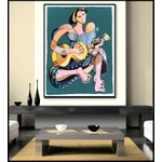 Image of Guitarist in Lace Abstract Painting
