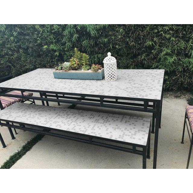 Iron & Mosaic Tile Dining Set - Set of 5 - Image 4 of 11