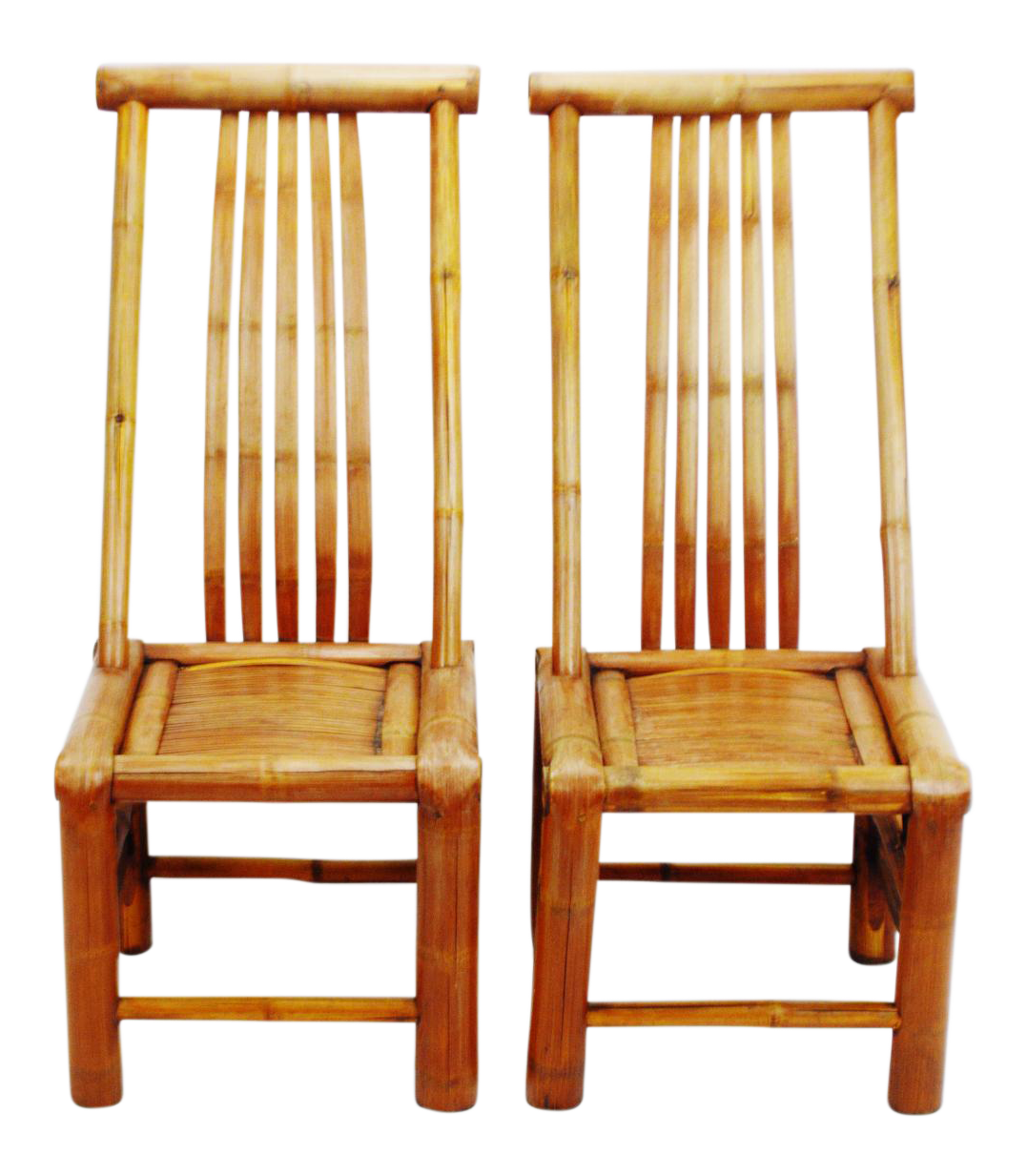 handmade high back bamboo accent chairs a pair