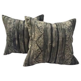Gray Tribal Batik Pillows - Pair