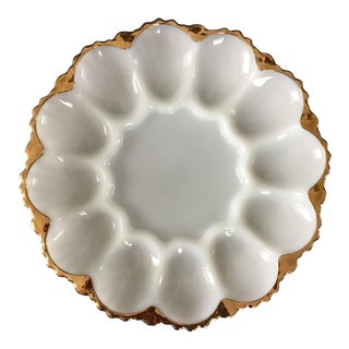 Vintage Milk Glass Deviled Egg Serving Plate With Gold Accent