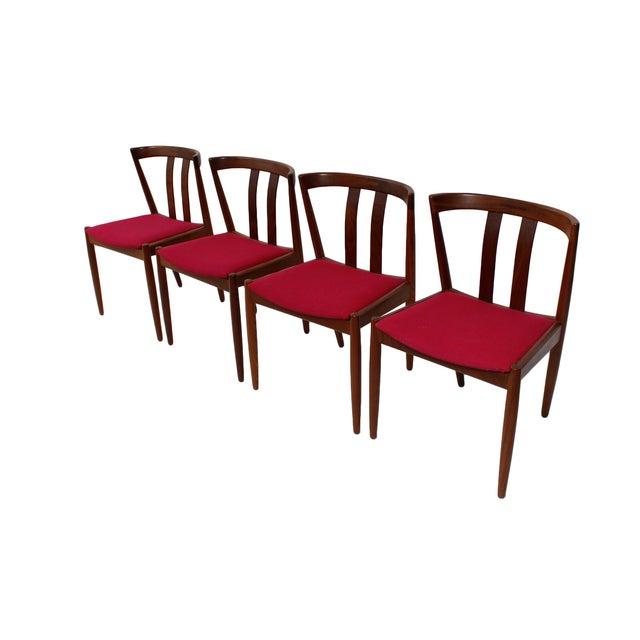Danish modern walnut dining chairs set of 4 chairish for Modern dining chairs ireland