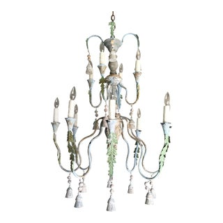 Italian Wood and Iron Chandelier With Tassels