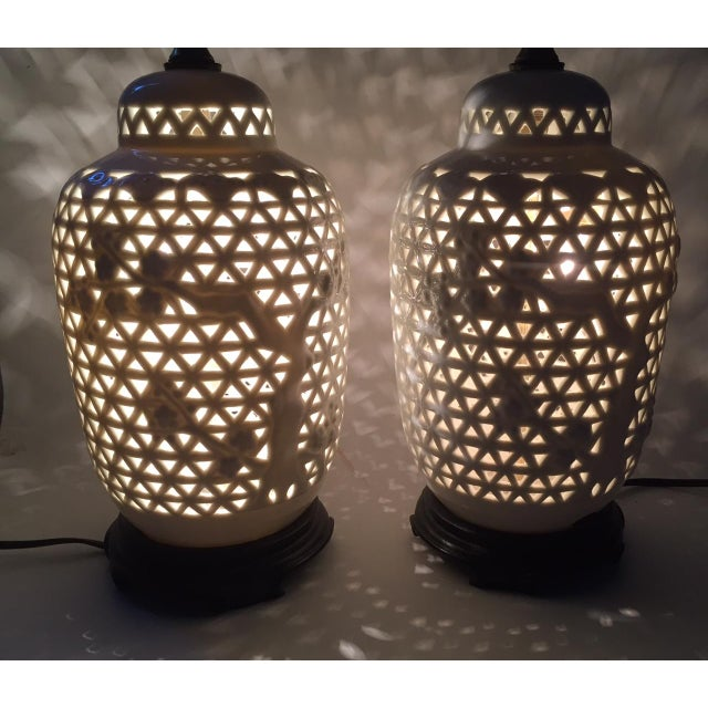 Vintage Pierced Porcelain Ginger Jar Lamps - Image 8 of 10