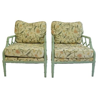 Crewel Faux-Bamboo Lounge Chairs - A Pair