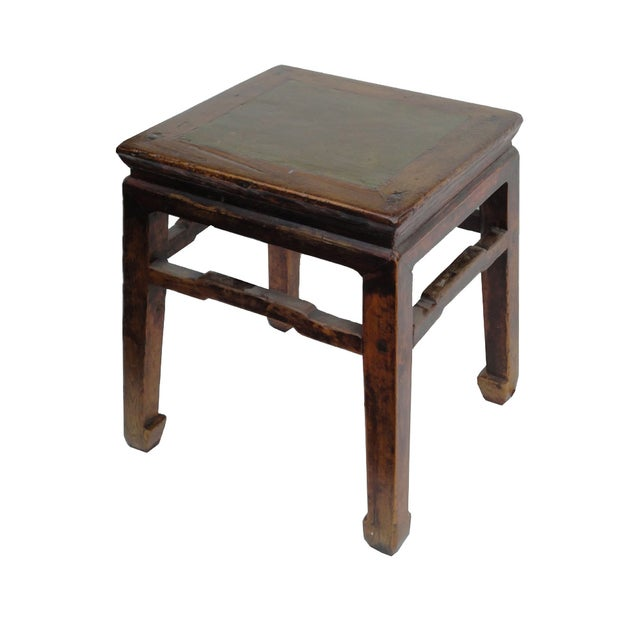 Image of Vintage Chinese Square Stone Top Stool Table Stand