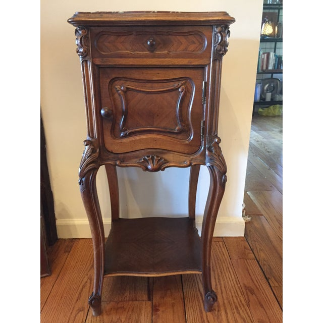 French Marble Top Walnut Nightstand - Image 2 of 7