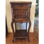 Image of French Marble Top Walnut Nightstand