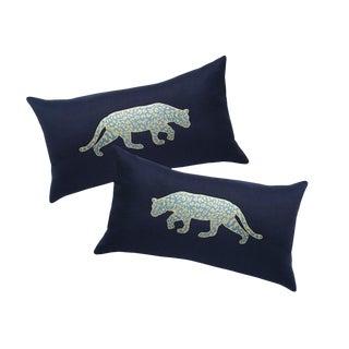 Navy & Gold Jaguar Pillows - A Pair