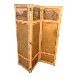 Hand Painted 3-Panel Screen