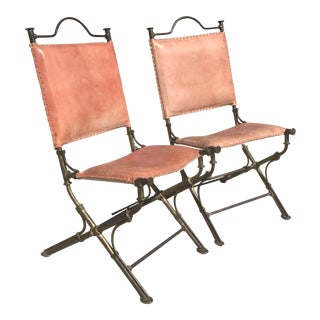 Ilana Goor Gilt Iron & Leather Chairs - A Pair