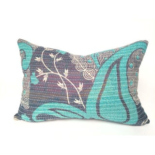 Aqua and Navy Kantha Quilt Pillow