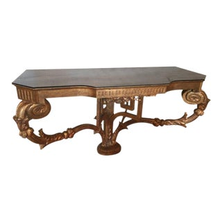 Turn of the Century French Giltwood Demilune Console