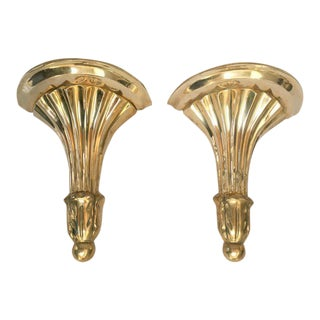 Florentine Brass Wall Mounted Shelves or Sconces - a Pair