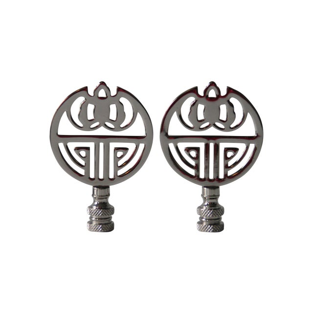 Image of Chrome Art Deco-Style Finials - A Pair