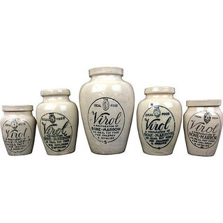 English Advertising Stoneware Jars - Set of 5