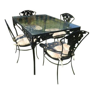 Vintage Woodard Wrought Iron Patio Set- Pomegranate Pattern- Table & 4 Chairs