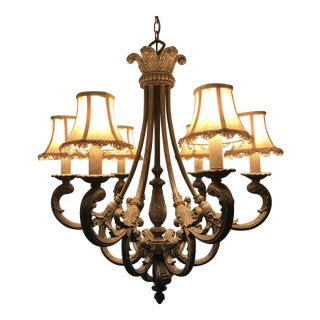 Cast Bronze French Chandelier With Silk Shades