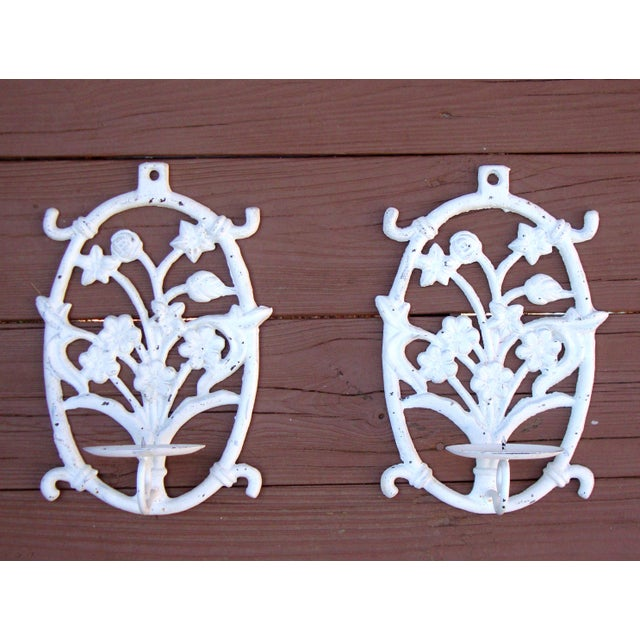 Painted White Cast Iron Floral Candle Sconces - 2 - Image 2 of 11