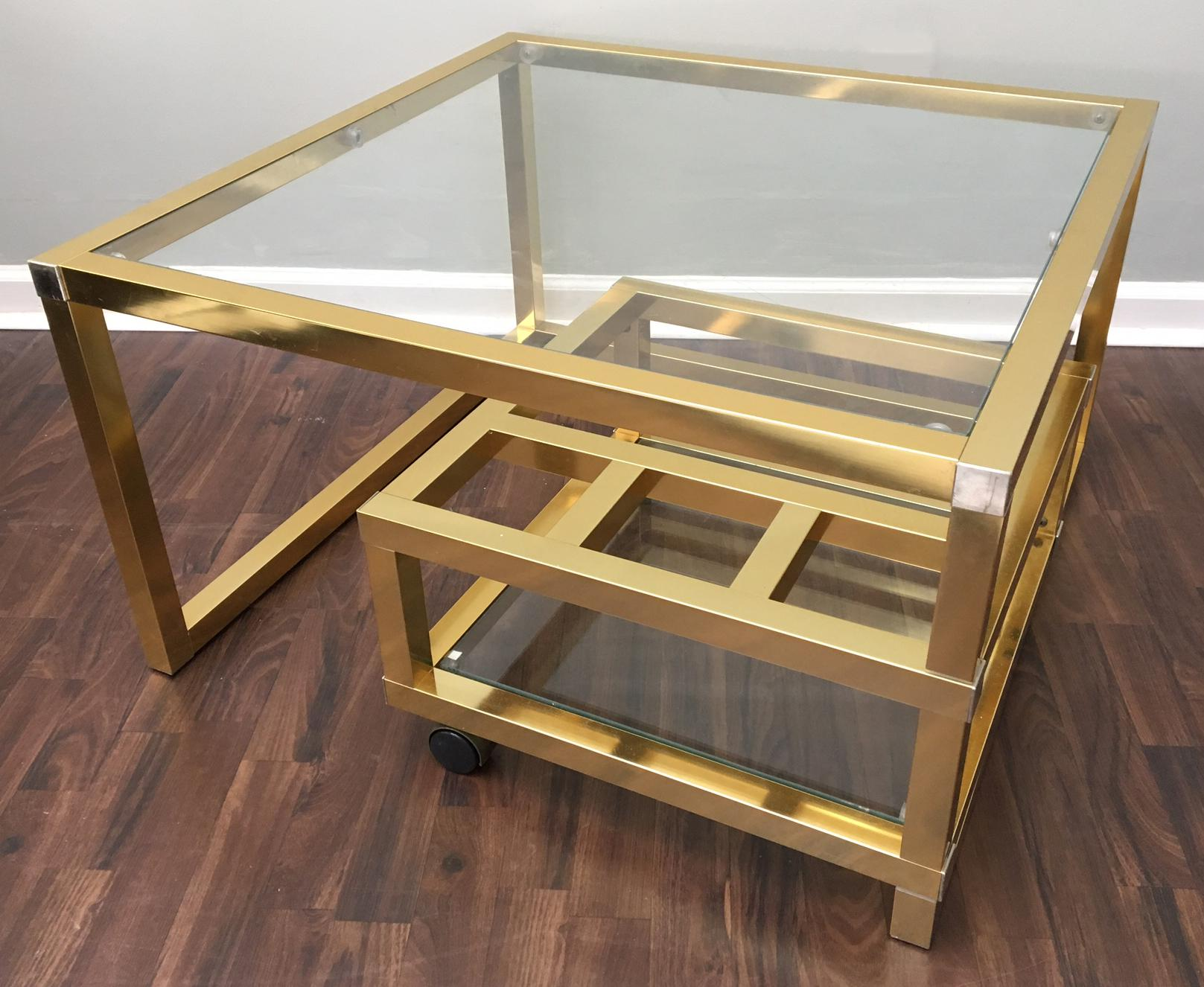 Cubist Brass Swivel Coffee Table with Wine Rack After Milo