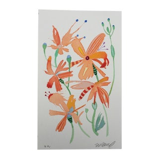 """Dragonfly Lilies 1"" Watercolor Painting"