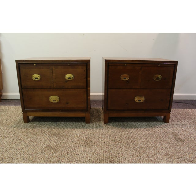 Mid-Century Campaign Style Nightstands - A Pair - Image 2 of 11