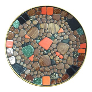 Mid-Century Modern Mosaic Stone Decorative Plate